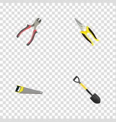 realistic scissors forceps spade and other vector image