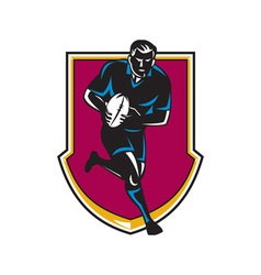 rugby player running passing ball retro vector image vector image