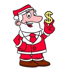 Santa Claus holding dollar sign vector image