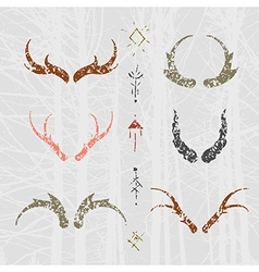 Set of horns in hand draw style colour vector image