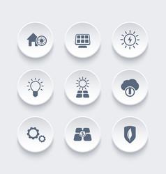 Solar energy icons set alternative energetics vector