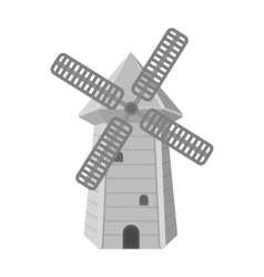 Spanish mill icon in monochrome style isolated on vector image