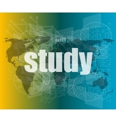 study words on digital touch screen interface vector image vector image