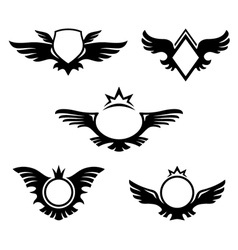Wings shaped emblems vector