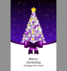 White xmas tree on a violet background and a vector
