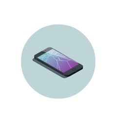 isometric of smartphone with broken screen vector image