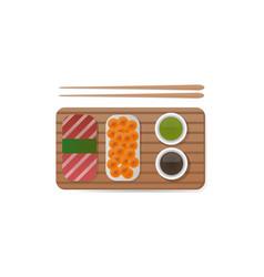 Sushi breakfast food and chopsticks vector