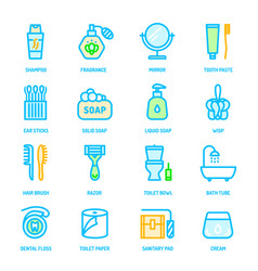 Colorful personal hygiene icons vector