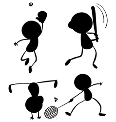 Different silhouettes of sports vector