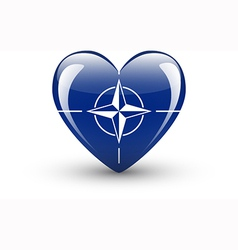Heart-shaped icon with flag of nato vector