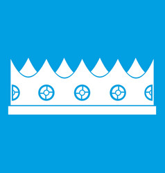 Little crown icon white vector
