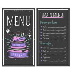 bakery menu vintage style vector image