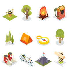 Isometric travel rest symbols tourist accessories vector