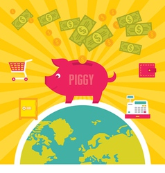 Moneybox piggy in flat design style vector