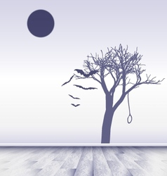 white room with image of sad moon vector image