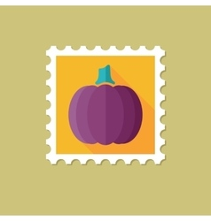 Pumpkin flat stamp with long shadow vector
