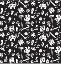 Cleaning objects icons black and white seamless vector