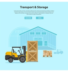Forklift and warehouse vector