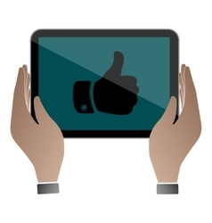 Hands hold and touch tablet pc vector