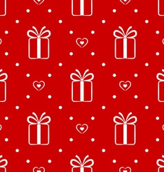 Red seamless pattern with gift and hearts vector