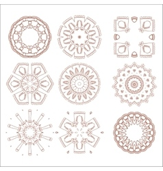 Traditional tribal pattern ornaments set soft vector