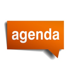Agenda orange speech bubble isolated on white vector