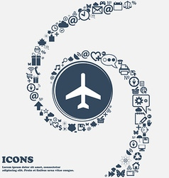 Airplane icon sign in the center around the many vector