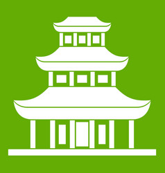 buddhist temple icon green vector image