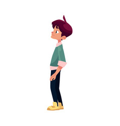 cartoon boy stands thoughtfully isolated vector image