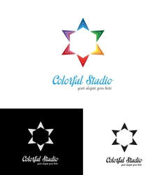 Colorful studio logo template vector