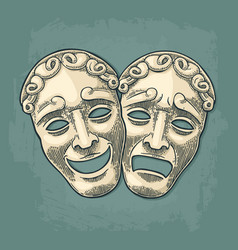 comedy and tragedy theater masks engraving vector image