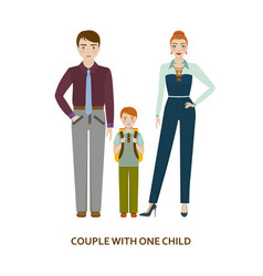 Couple with one child cartoon vector