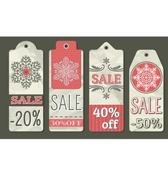 Crumple christmas labels with sale offer vector