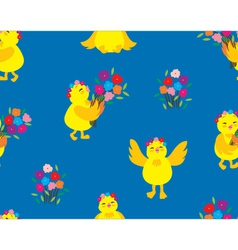 Cute Chick Pattern vector image vector image