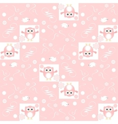 Cute floral seamless background with pink owls vector image vector image