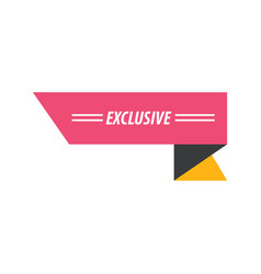 Design ribbon exclusive pink yellow black vector