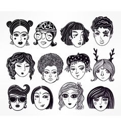 Doodle style set of diverse female faces vector image