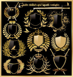 golden shields and laurel wreaths vector image