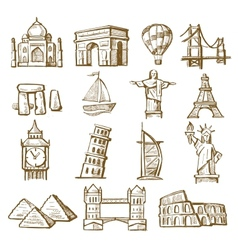 hand drawn landmarks vector image vector image