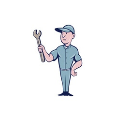 Handyman holding spanner cartoon vector