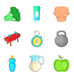 Health welfare icons set cartoon style vector