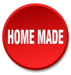 Home made red round flat isolated push button vector