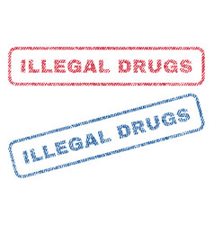 Illegal drugs textile stamps vector