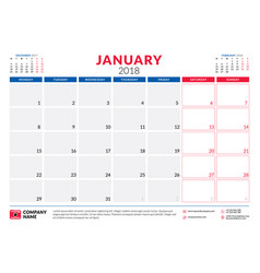 january 2018 calendar planner design template vector image vector image