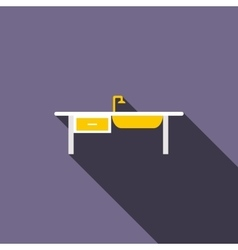 Kitchen sink icon flat style vector