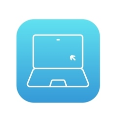 Laptop with cursor line icon vector image vector image
