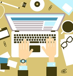 Laptop with hands vector image vector image