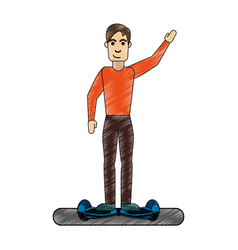 man over hoverboard design vector image