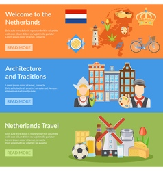 Netherlands travel flat banners vector