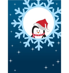 penguin snowflake background vector image vector image